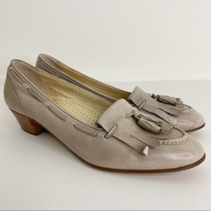 Bally Slip On Block Heel Loafers Made In Italy 8.5